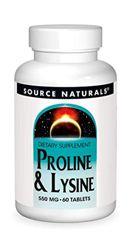 Source Naturals L-Proline/L-Lysine, 275mg, 60 Tablets