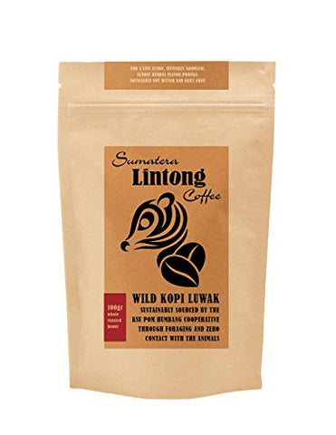 Wild Kopi Luwak, the World's Most Exclusive Coffee, Sustainably Sourced From Sumatra, Indonesia (100gr / 3.5oz)
