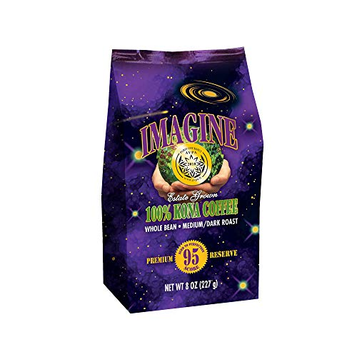 Kona Coffee Beans by Imagine - 100% Kona Hawaii - Medium Dark Roast (Whole Bean, 8 ounce)
