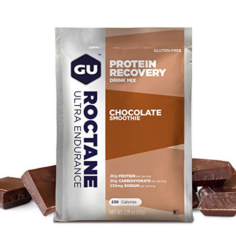 GU Energy Roctane Ultra Endurance Protein Recovery Drink Mix, 10 Single-Serving Packets, Chocolate Smoothie