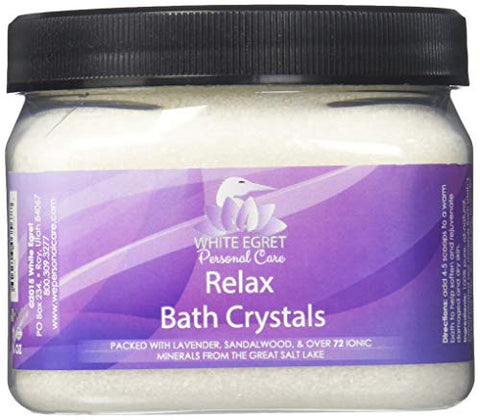 White Egret Bath Crystals, Relax, 16 Ounce