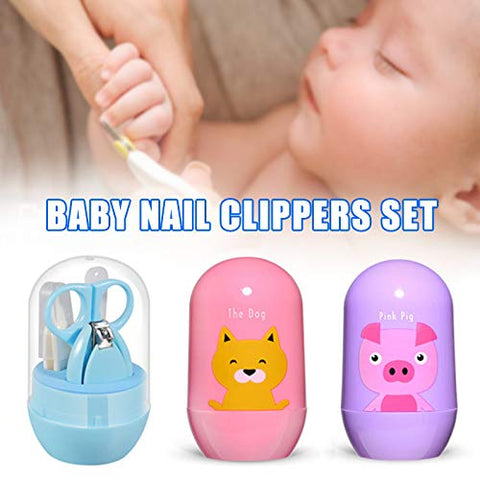 Tenflyer 4-in-1 Baby Nail Care Set with Cute Case Baby Nail Clipper Scissor Nail File Tweezer Baby Manicure Kit