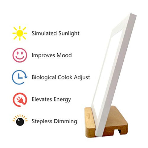 Happy Sunlight Therapy Lamp 10000 Lux Full Spectrum LED Lamp UV-Free Portable Natural Health Light with Stepless Dimming(White,A5 Size)