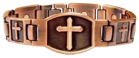 ProExl Magnetic Copper Large Cross Christian Bracelet with ProExl Box 8.5 inches