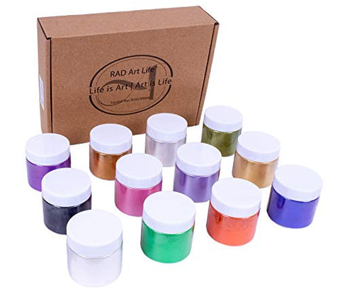 PRO Pearl Pigment Powder, Series 2 ?? [12] Vibrant Colors, 14g/.5oz Natural Mica Powder for Resin, Epoxy, Acrylic, Paint, Art, Crafts, Slime, Soap, Cosmetics, More