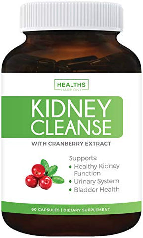 Kidney Cleanse (Non-GMO & Vegetarian) Supports Bladder Control & Urinary Tract - Powerful VitaCran Cranberry Extract - Natural Herbs Supplement - Kidney Health, Flush & Detox - 60 Capsules (No Pills)