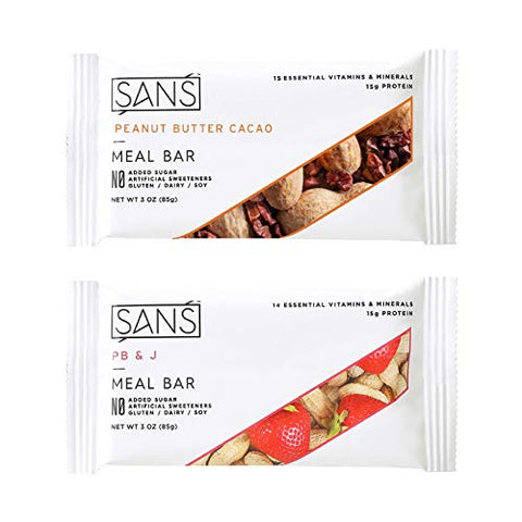 SANS Peanut Butter Lovers Variety Meal Replacement Protein Bar | All-Natural Nutrition Bar With No Added Sugar | Dairy-Free, Soy-Free, and Gluten-Free | 16 Essential Vitamins and Minerals | (6 Pack)