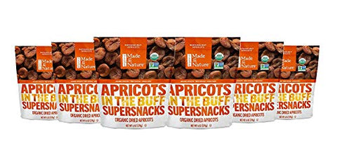Made In Nature Organic Dried Fruit, Pitted Apricots, 6oz Bags (6 Count)  Non-GMO, Unsulfured Vegan Snack