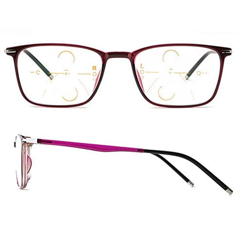 QQAA Progressive Reading Glasses Men and Women:Multi-Focus Intelligent Zoom,Blu-ray-Proof Computer Glasses,Transparent Lens,Prevent Eye Fatigue