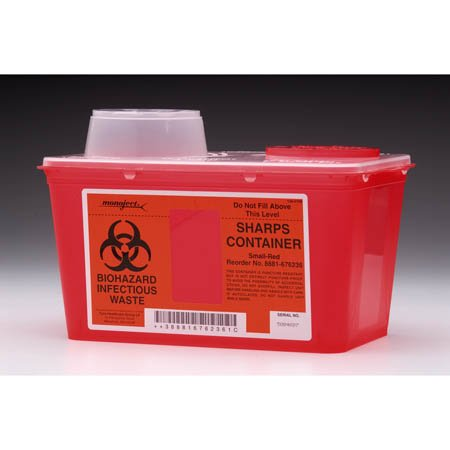 Kendall 8881676285 Monoject Sharps-A-Gator Chimney-Top Sharps Biohazard Waste Container, 8 qt Capacity, 10-71/128