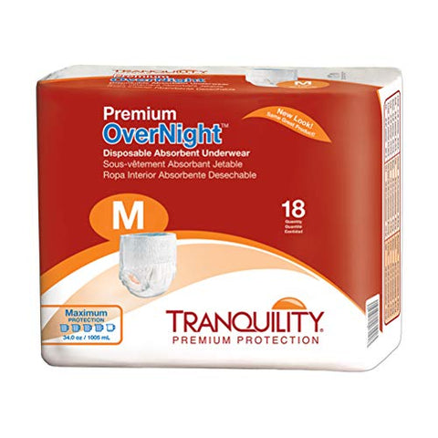Tranquility Premium OverNight Pull-On Diapers, Medium, 54 Diapers