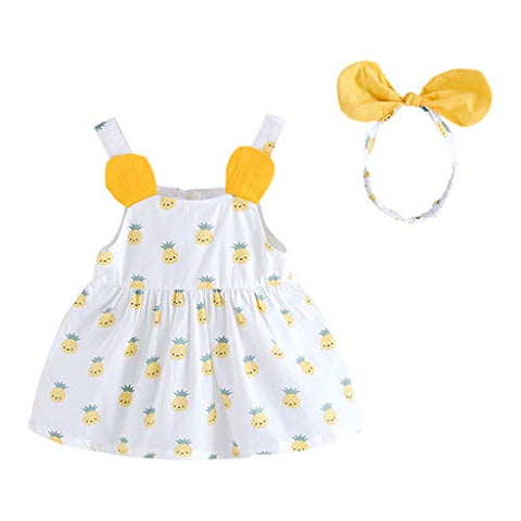 heavKin-Clothes 6M-4T Toddler Baby Girls Sling Skirt Sleeveless Doll Collar Pineapple Print Princess Dress +Headbands 2Pcs Set Outfits
