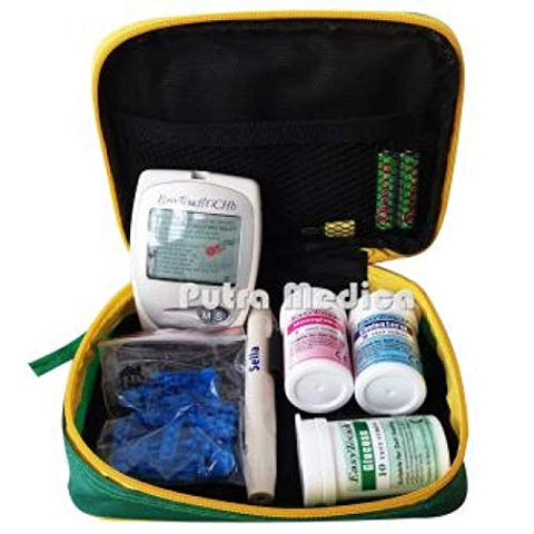 3in1 Easytouch Glucose Cholesterol Hemoglobin Monitor Test Strips Lancing Device Lancets and Carrying Case