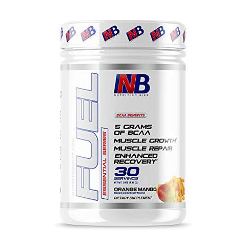 NutritionBizz BCAA Powder, 5 Grams of BCAAs Amino Acids, Post Workout Recovery Drink for Muscle Building, Recovery, and Endurance, 30 Servings (Orange Mango)
