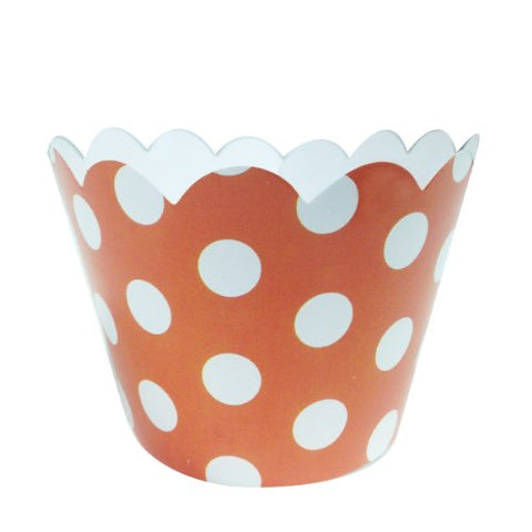 AllyDrew Standard Size Polka Dots Cupcake Wrappers (Set of 20), Orange