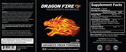 $25 Launch Special - Esports Advantage | Dragon FIRE Focus Formula | E-Sports Supplement for Professional Gamers | Increase Gaming Focus - Endurance & Accuracy