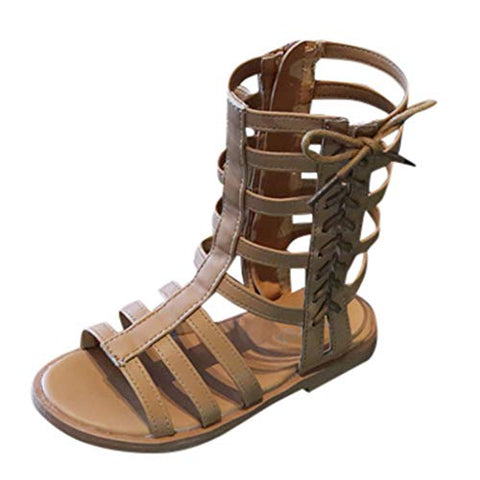 Girls Zipper Bowknot Strappy Knee-High Gladiator Sandals Comfort Flat Zip Up Summer Boots Shoes (Toddler/Little Kid) (7-8Years, Brown)