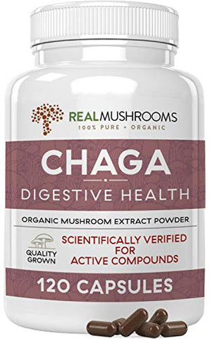 Real Mushrooms Chaga Capsules for Digestive Health and Immune Support (120ct) Vegan, Non-GMO Chaga Extract Supplements, Verified Levels of Beta-Glucans