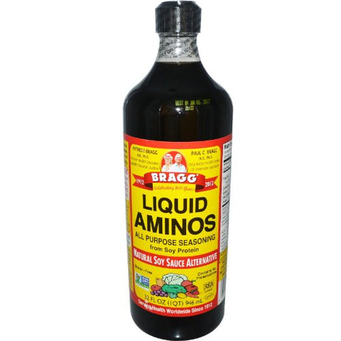 Bragg Liquid Aminos All Purpose Seasoning Soy Sauce Alternative, 32 Fl Oz, 2 Pack