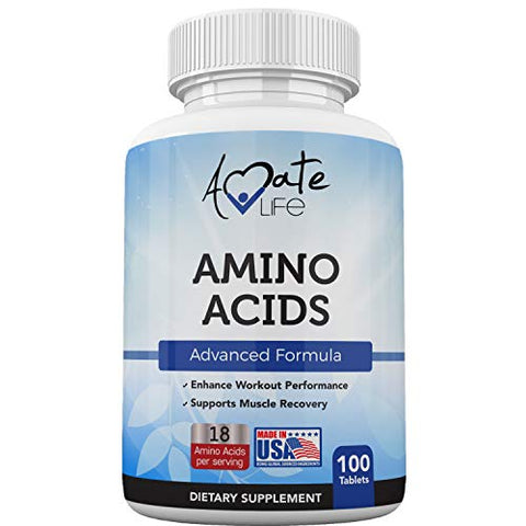 Amino Acids Supplement Post Workout Enhancer Essential Amino Energy to Support Muscle Recovery Advanced Energy Booster Non-GMO Natural Formula 100 Tablets Made in USA by Amate Life