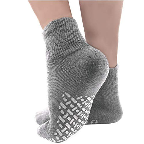 Debra Weitzner Non-Binding Loose Fit Sock - Non-Slip Diabetic Socks for Men and Women - Ankle 3Pk Grey