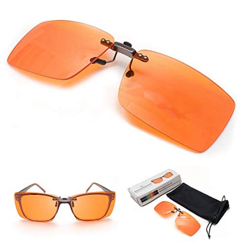 Clip On Blue Blocking Amber Fitover Glasses For Better Sleep By Elements Active | Reduce Eyestrain Mi
