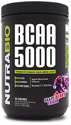 NutraBio BCAA 5000 Powder - 60 Servings (Grape Berry Crush)