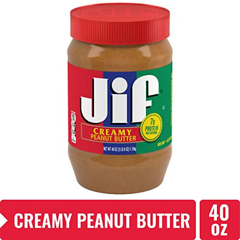 Jif Creamy Peanut Butter, 40 Ounces (Pack Of 8), 7g (7% Dv) Of Protein Per Serving, Smooth, Creamy T