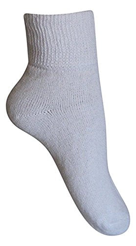 Diabetic Womens Ankle Socks (3 Pack), 9-11, White, Made in The USA