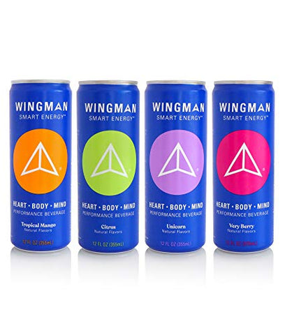 Wingman Smart Energy, Energy Drink, Variety Pack | Performance Beverage for Fitness, Recovery and Immune Support, 12 Ounce (Pack of 4)