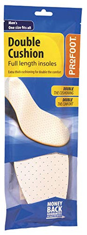 Profoot Double Cushion Insoles Full Length Men Pr