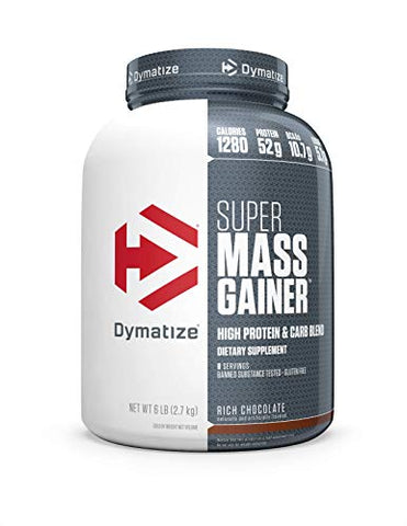 Dymatize Super Mass Gainer Protein Powder, 1280 Calories & 52g Protein, Gain Strength & Size Quickly, 10.7g BCAAs, Mixes Easily, Tastes Delicious, Rich Chocolate, 6 lbs