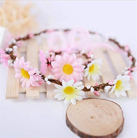Forest & Rural Style Chrysanthemum Pastoral Queen Princess Bridal Flower Garland Wristband Wreath Headband Crown Hair Decor