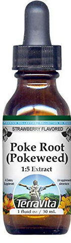 Poke Root (Pokeweed) Glycerite Liquid Extract (1:5) - Strawberry Flavored (1 oz, ZIN: 523961)