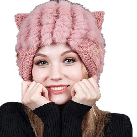 Winter Hat Thick Cap Sweet Lovely Wool Warm Lovely Faux Fur Headband Outdoor Sports Ski Earwarmer (Pink)