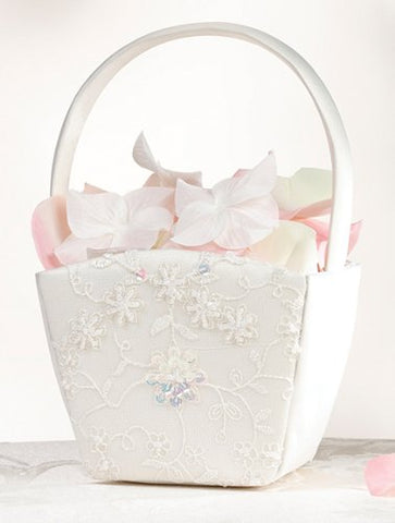 Beaded Sequin Lace Flower Basket in Ivory FB350I