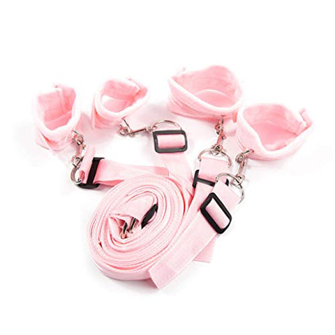 Leather B+D+S-M Wrist Hand and Legs C-?`f`f=s with Iron Hook Bo`nd-g Role Play Toys (Pink)