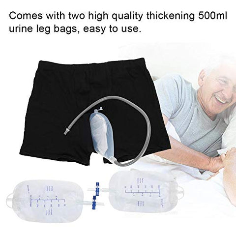 Wearable Urine Bag Incontinence Pants for Men, Urinal System With Collection Bag Portable Leak Proof Leg Pee for Elder