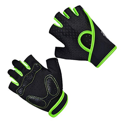 Exceart Fitness Gloves Yoga Gloves Non-Slip Half Finger Sports Gloves for Men Women Gym Home Yoga Training Size L(Black and Green)