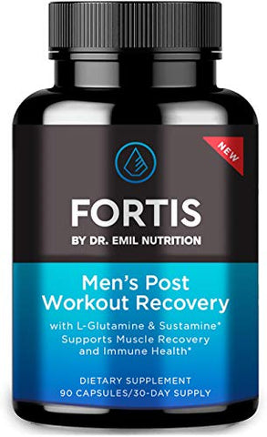Fortis by Dr. Emil Nutrition Post-Workout Recovery Capsule for Men with L-Glutamine and Sustamine to Support Muscle Recovery & Immune Health, 30 Servings