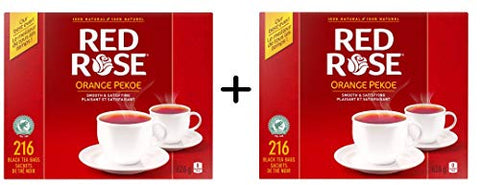 Red Rose Tea Orange Pekoe 216 PC (432 Count) {Imported from Canada}