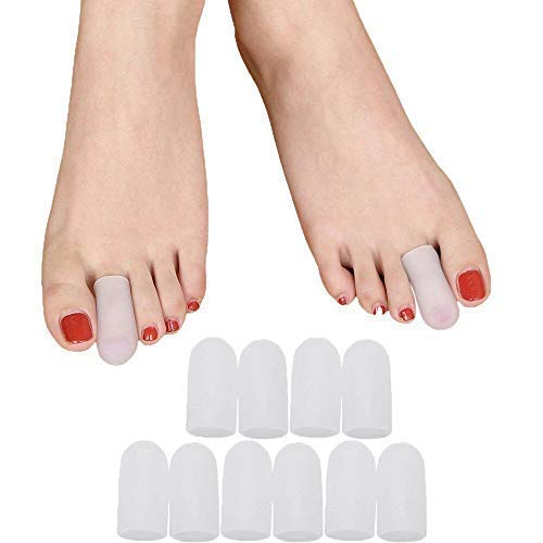 Povihome 10 Pack Toe Caps, Toe Sleeves, Toe Protectors - for Middle Toe Blisters, Corns, Injured Toenails and Hammer Toe Protect