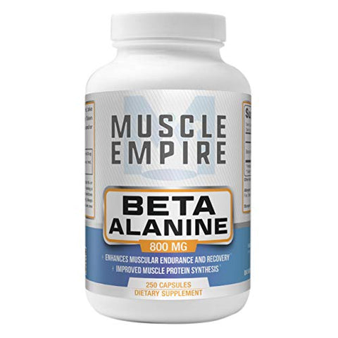 Beta-Alanine Capsules - Improved Recovery & Muscle Energy - 250 Count - Muscle Empire