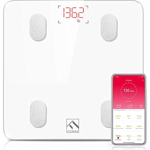 FITINDEX Bluetooth Body Fat Scale, Smart Wireless BMI Bathroom Weight Scale Body Composition Monitor Health Analyzer with Smartphone App for Body Weight, Fat, Water, BMI, BMR, Muscle Mass - White