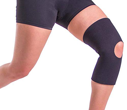 Open Patella Elastic Knee Sleeve (1 Pair) - Black, Large