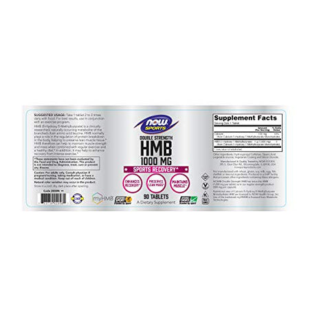 NOW Sports Nutrition, HMB (?-Hydroxy ?-Methylbutyrate), Double Strength 1,000 mg, 90 Tablets
