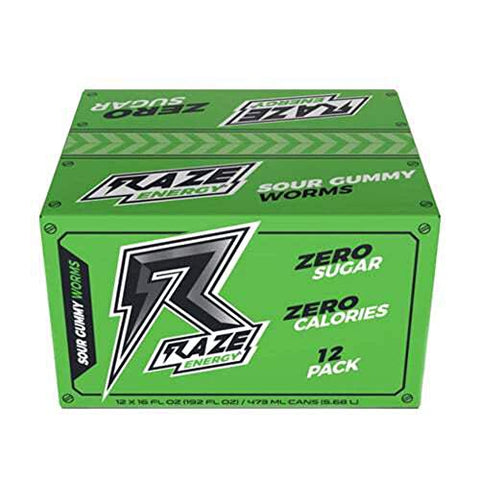 Raze Energy Drink | Performance and Hydration | Sugar Free, Zero Calorie Energy Drink - Sour Gummy Worms 12 Pack
