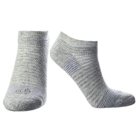 Doctor's Choice Women's Diabetic & Neuropathy Socks, No Show, Non-Binding with Aloe, Ventilation, and Seamless Toe, Single Pair, Grey/Denim, Womens Medium: Shoe Size 6-10
