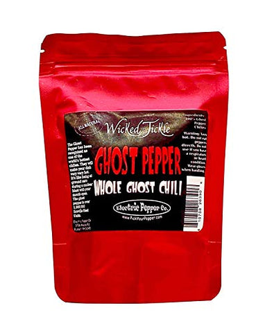5 Whole Ghost Pepper Dried Intact Seed Pods +2 Free Super Hot Wicked Tickle