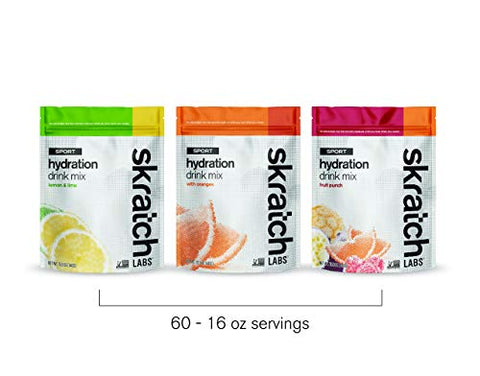 SKRATCH LABS Sport Hydration Drink Mix, Variety Pack - Lemon Lime, Oranges, Fruit Punch (60 Servings, 20 Each Flavor) - Natural, Electrolyte Powder Developed for Athletes and Sports Performance
